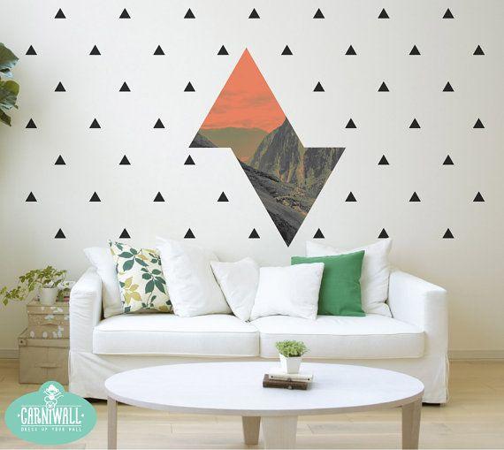 Photo géométrique paysage Stickers muraux, stickers muraux de vinyle