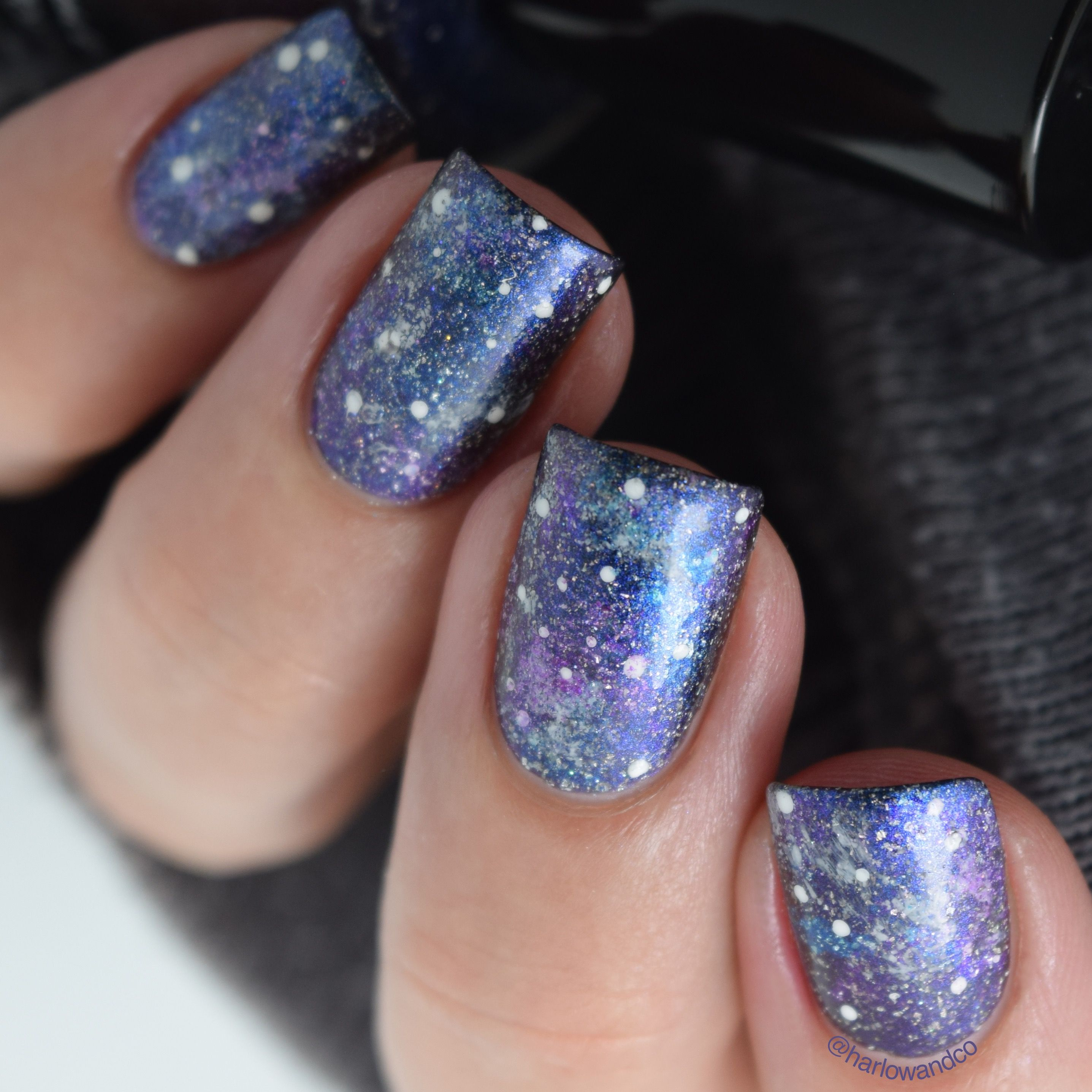 Galaxy Nail Products: Galaxy Nails Using All KBShimmer Nail Polishes 🌌