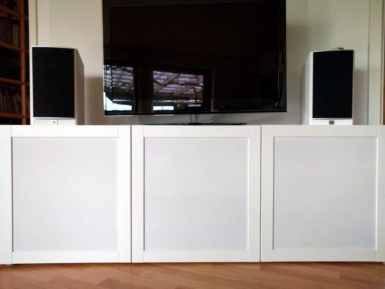 How To Hack Speaker Fabric Doors For Besta Tv Unit Ikea Hackers In 2020 Tv Unit Ikea Hack Living Room Ikea Hackers