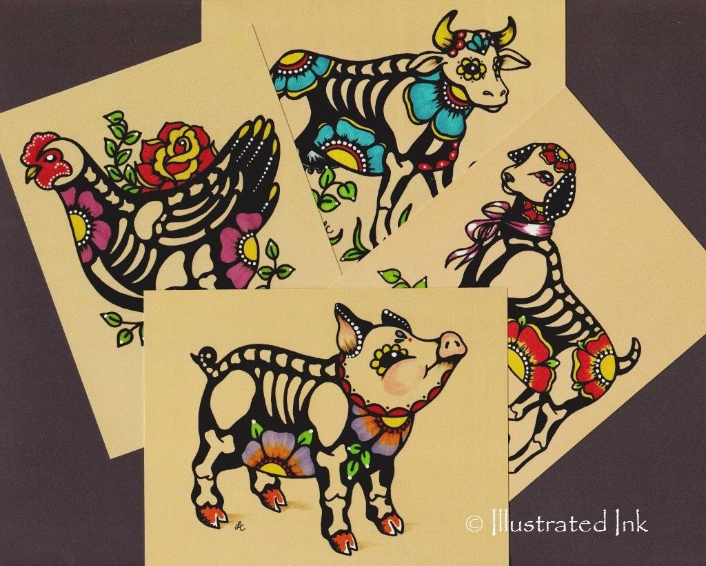 Day of the Dead POSTCARDS Skeleton Farm Animals - Pig, Chicken, Goat ...