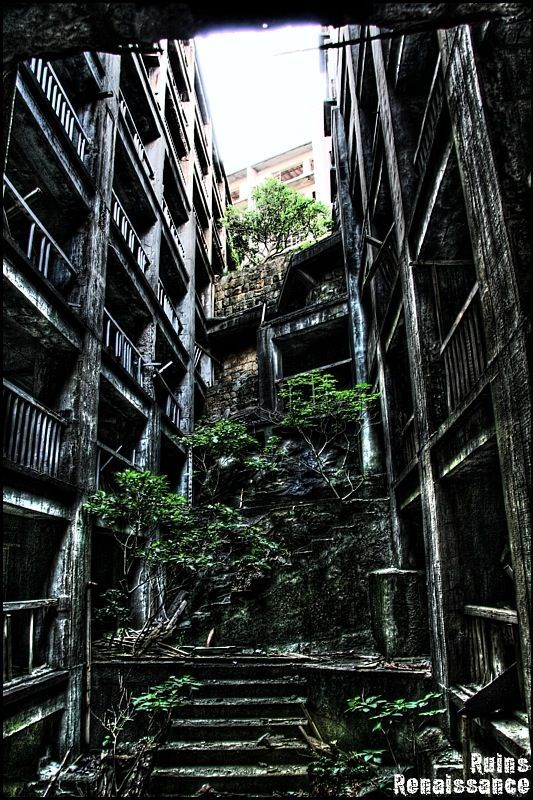 端島(軍艦島), Hashima Island, Gunkan-jima (Battleship Island), Japan, fifteen kilometers away from the infamous Nagasaki. This is amazing inspiration for a short story and I can't wait to incorporate it into one.