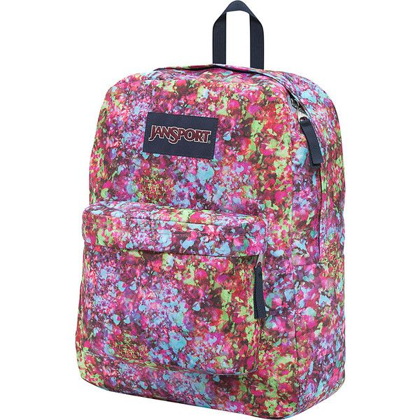 JanSport Superbreak Backpack- Discontinued Colors - Multi Flower... ( 25) ❤  liked on Polyvore featuring bags f522374d3d22b