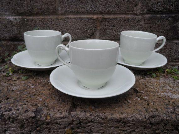 Vintage jadeite ceramic tea cups and saucers  by EmpireAntiques