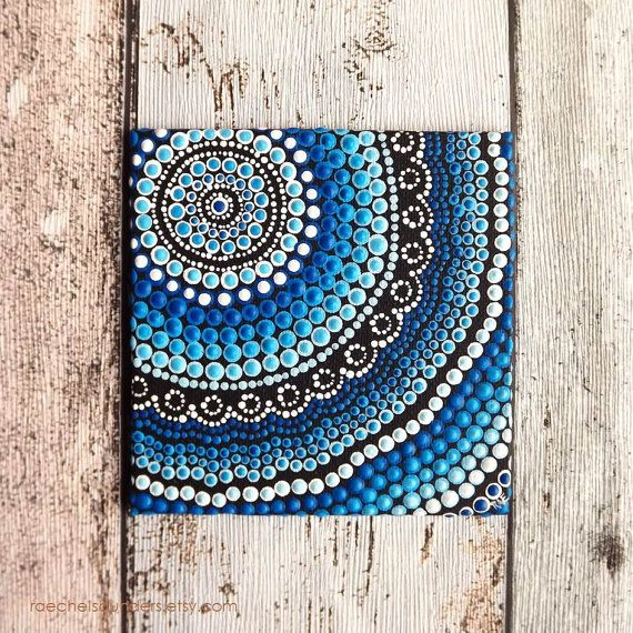 Water art aboriginal dot art hand painted original for Small canvas boards
