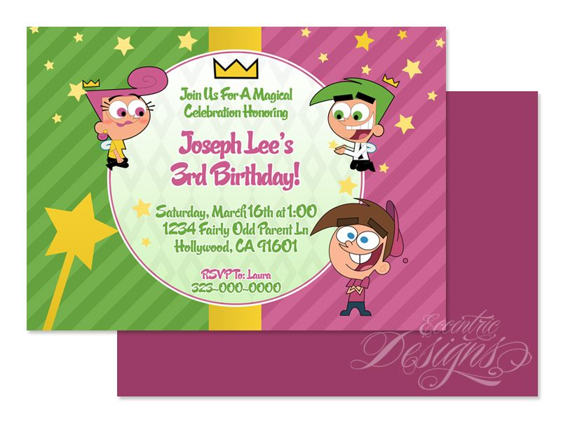 Fairly Odd Parents - Digital Birthday Party Invitation / Child Party ...