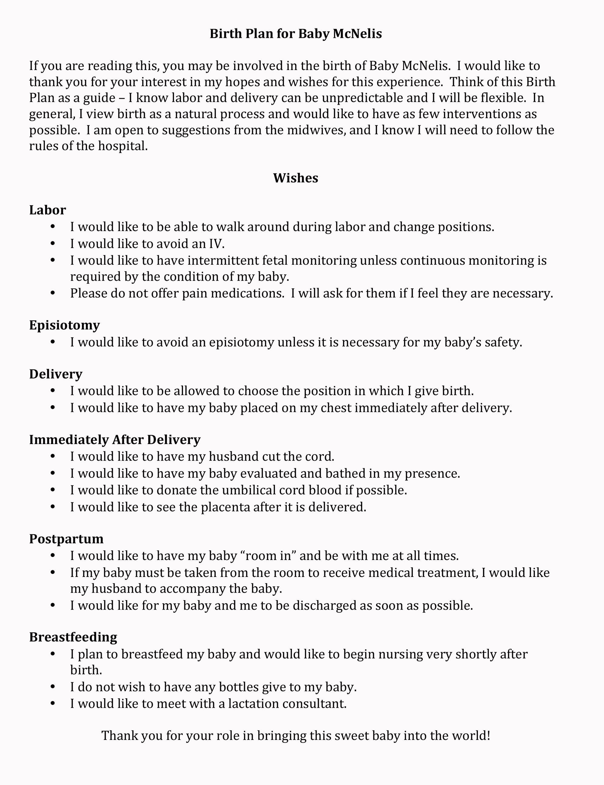 Birth Plan Idea