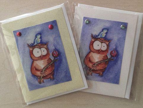 Two Mini Cards Handmade Prints from Original by BirdheadCreations