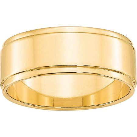 Primal Gold Primal Gold 10 Karat Yellow Gold 8mm Flat With Step Edge Band Size 4 Walmart Com Step Edging Wedding Ring Bands Mens Gold Wedding Band
