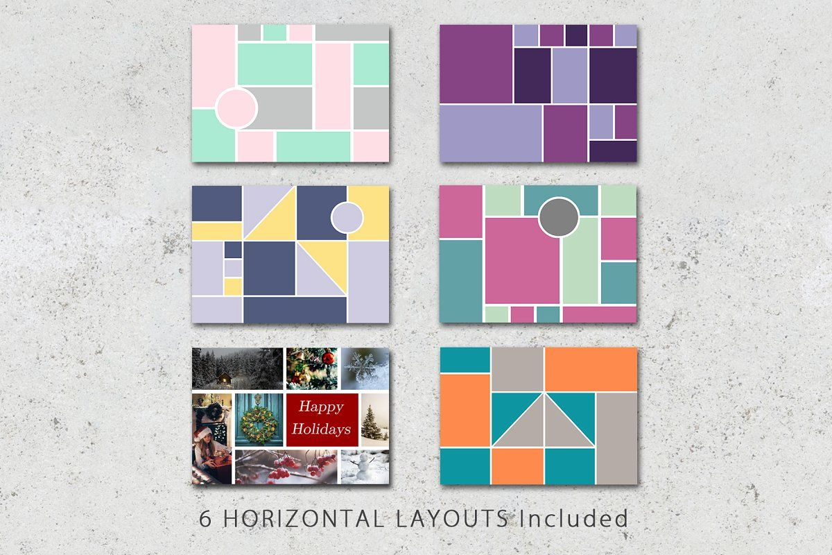 5x7 Photo Card Collage Template Pack Collage Template Photo Collage Template Photography Templates
