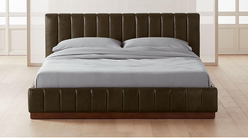 Forte Leather King Bed Reviews Cb2 In 2021 Leather King Beds Bed Frame And Headboard Modern Bed King size leather bed frame