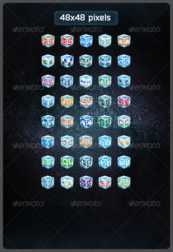 40 Realistic Ice Cube Social Icons Social Icons Website Design Inspiration Create Website