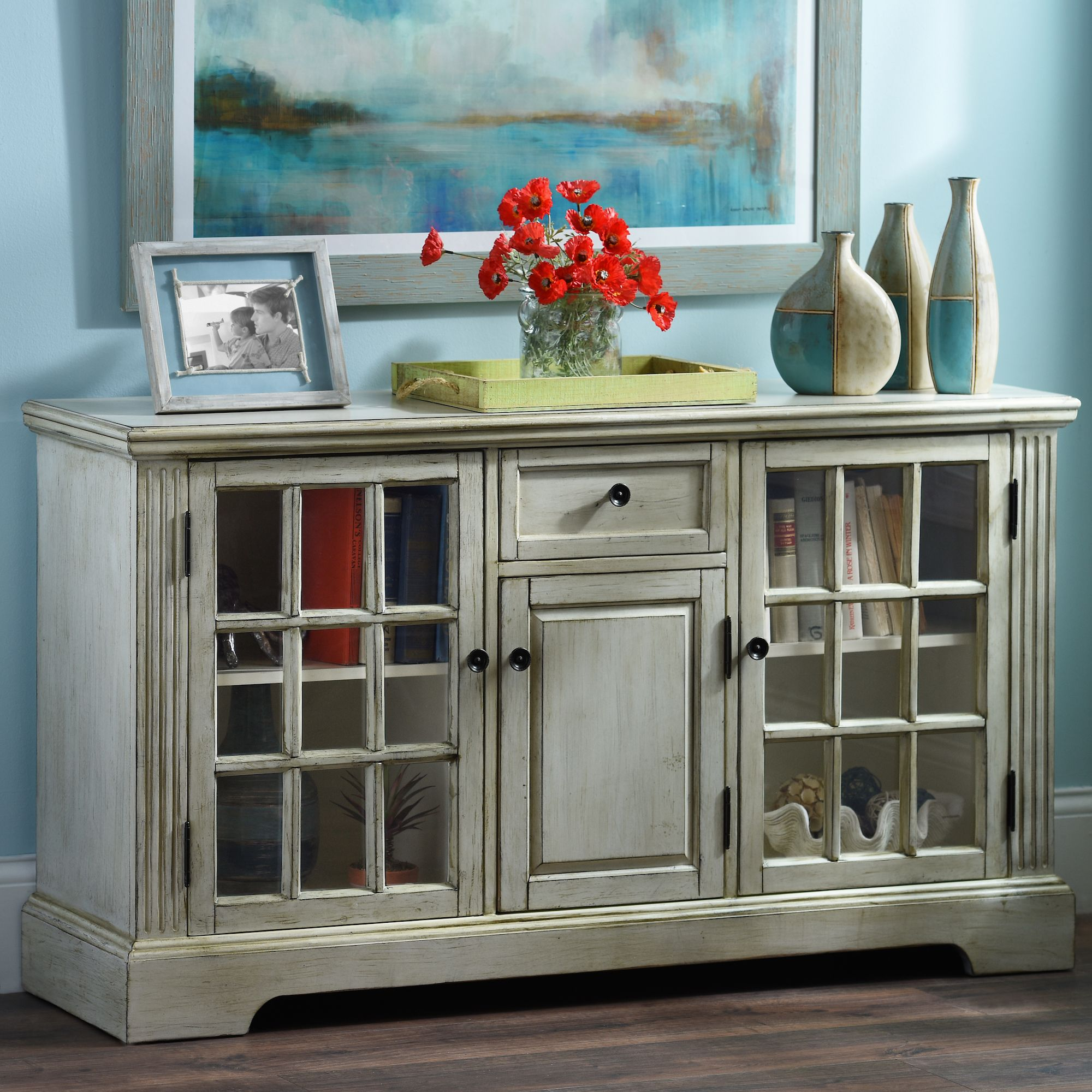 Beau Keep Your Media Space Both Organized And Stylish With The U0027Cream 3 Door Windowpane  Media Cabinetu0027 From Kirklandu0027s. Save 20% During Our Semi Annual Sale Now ...