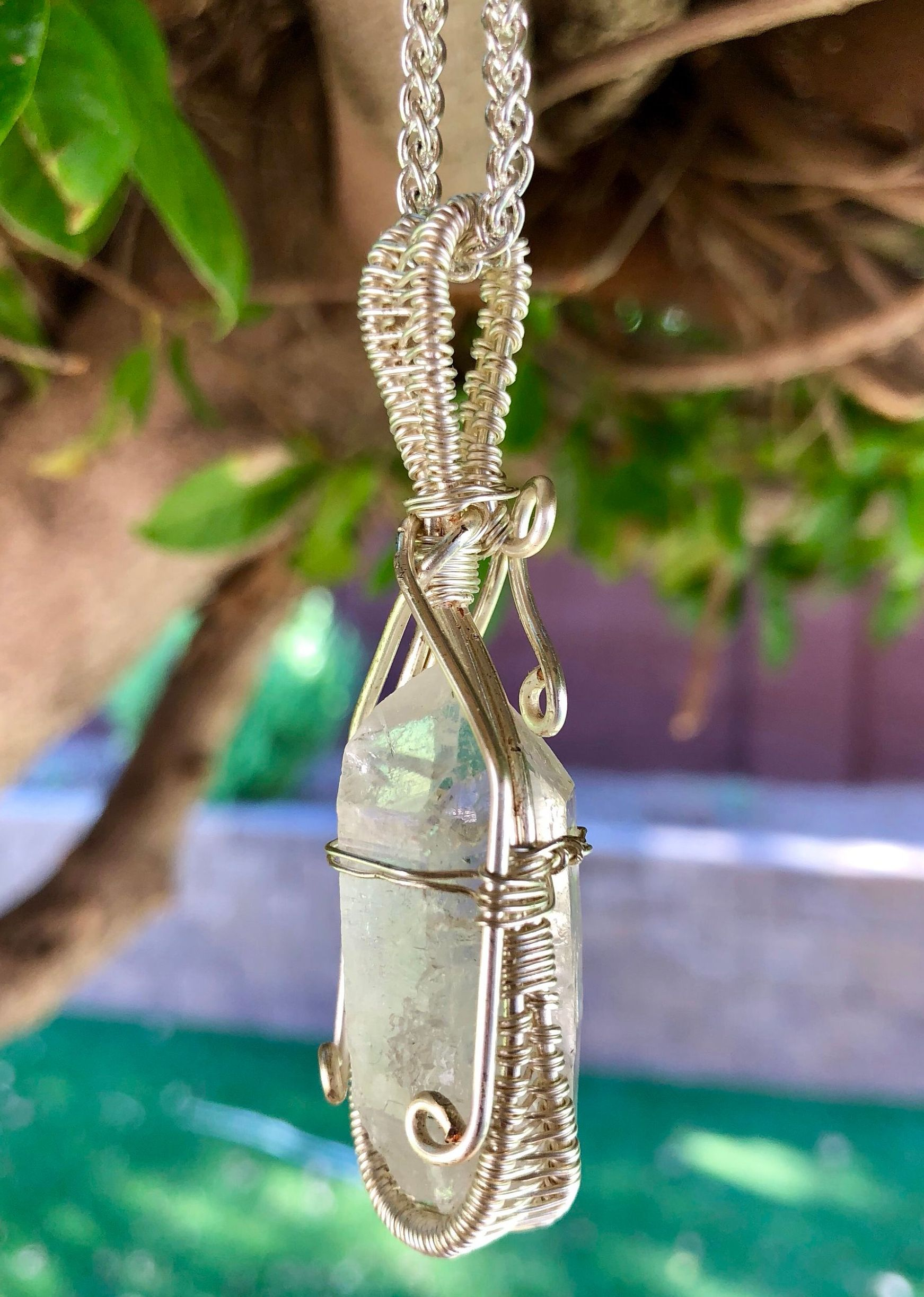 unisex pendant Raw green amethyst crystal pendant-wire wrapped silver pendant-green crystal jewelry gift amethyst gemstone point pendant