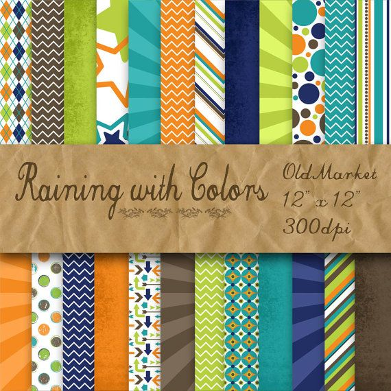 Raining With Colors In Blue Brown Green And Orange Digital Paper Pack 24 Colors 12inx12in Commercial Use Instant Download Orange Digital Paper Digital Paper Digital Paper Pack