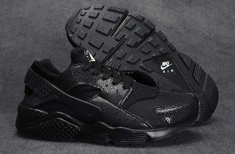 Women/Men Nike Air Huarache Run 634835-001 Triple Black Safari All Black  only