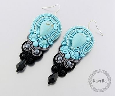 K Avril - Jewellery author. soutache Turquoise Puya soutache Earrings. length 7.6cm