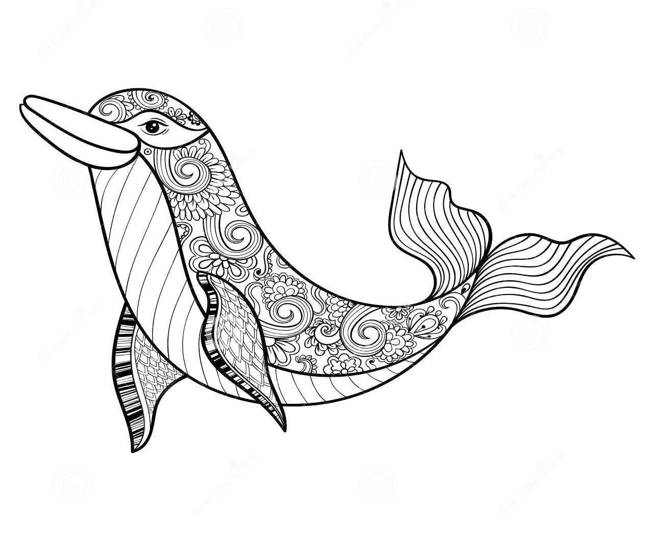 Zentangle Dolphin Coloring Page To Relieve Stress