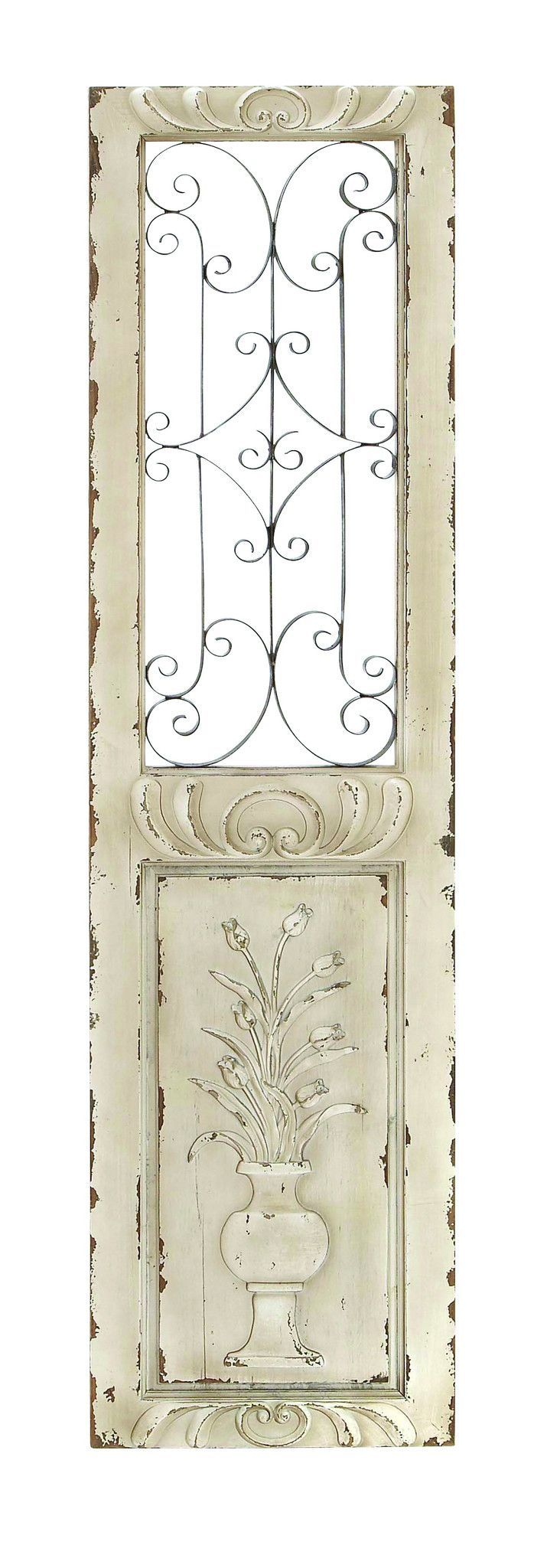 "Wood And Metal Door Wall Decor Fair Wood Metal Wall Panel 62""h 16""w Wall Decor  Shutters  Pinterest Decorating Design"