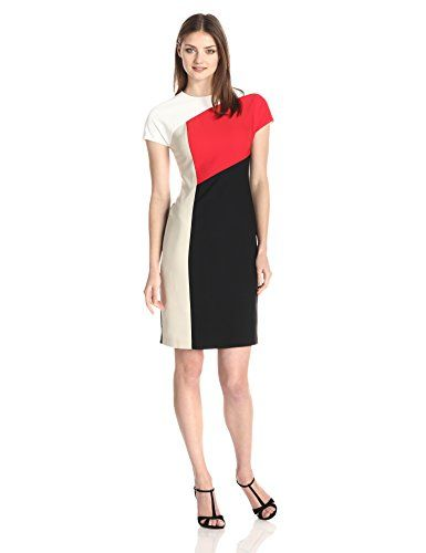 bdd67ead Anne Klein Womens Cap Sleeve Color Block Sheath Dress RedMulti 14 >>> Click  image to review more details.(This is an Amazon affiliate link and I  receive a ...