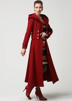 e7691e28757 Womens Long Red Wool Coat with Hood Also Available in by xiaolizi