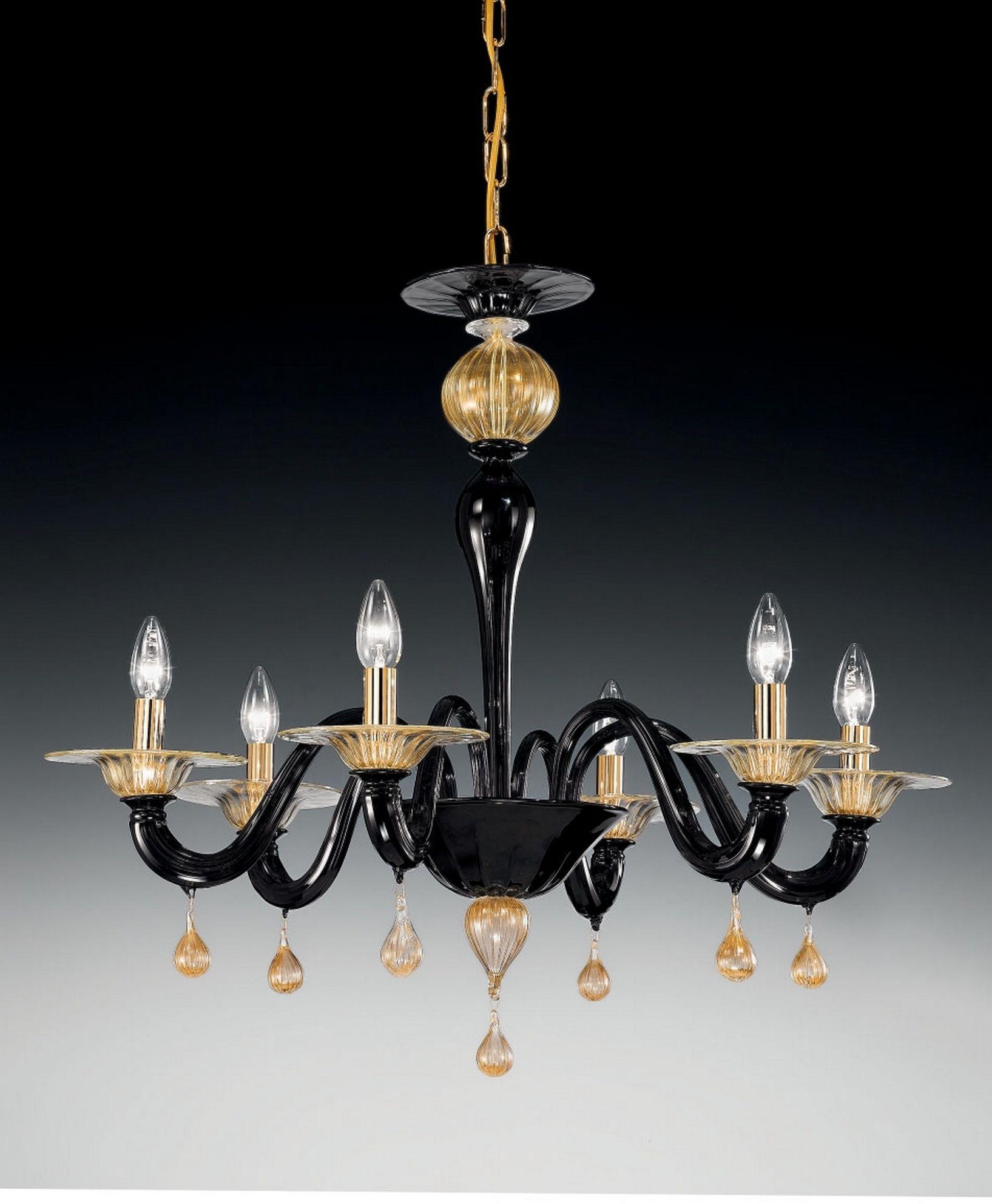 Lampadario 6 luci in cristallo laccato nero e particolari