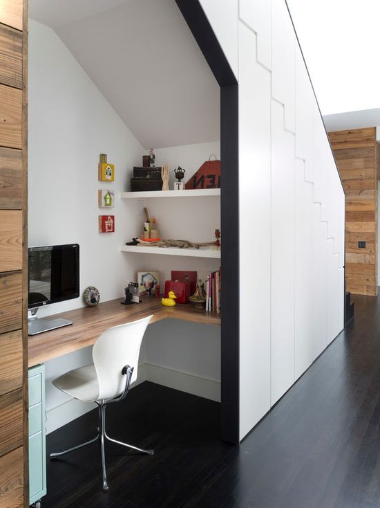 Basement Stair Ideas For Small Spaces: Contemporay Home Office Under Stairs