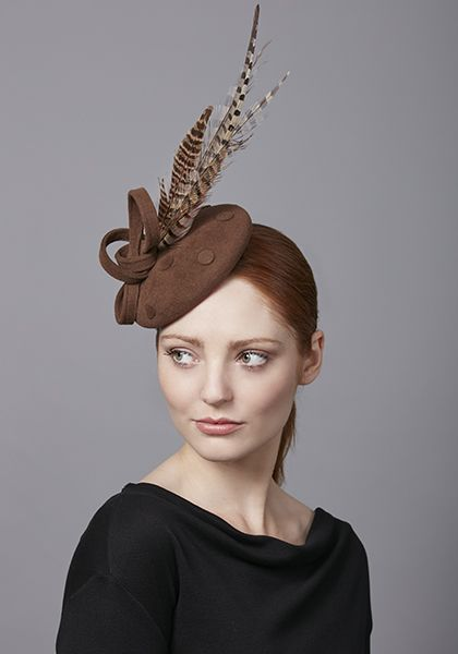 Rachel Trevor Morgan Millinery R17W17 Mocha velour pillbox with pheasant  feathers 13ccb92a12c