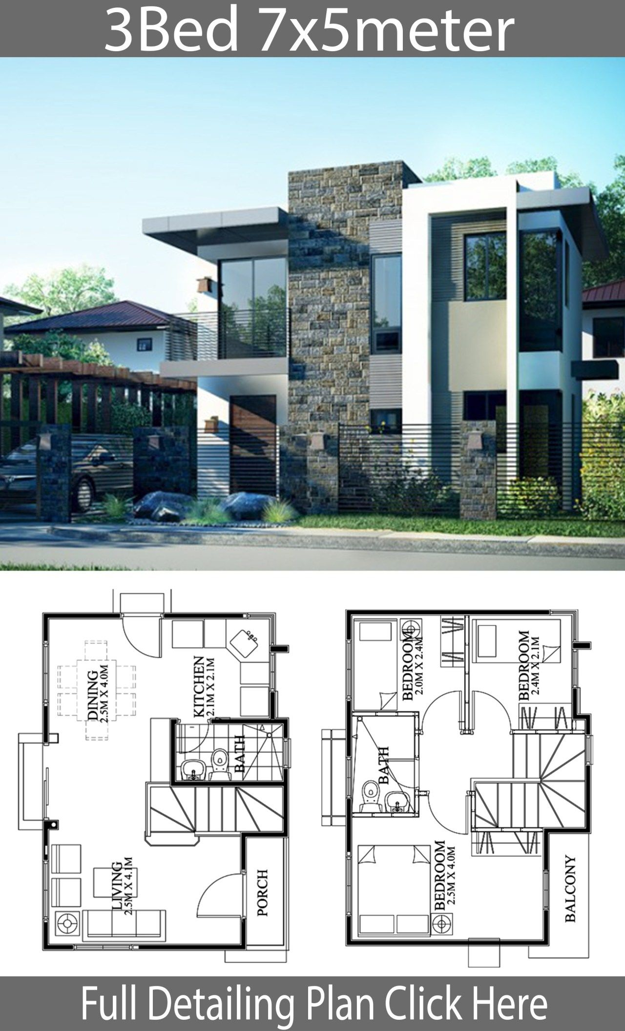 Small Home Design Plan 7x5m With 3 Bedrooms Home Ideas Modern House Design Small House Design Plans House Architecture Design