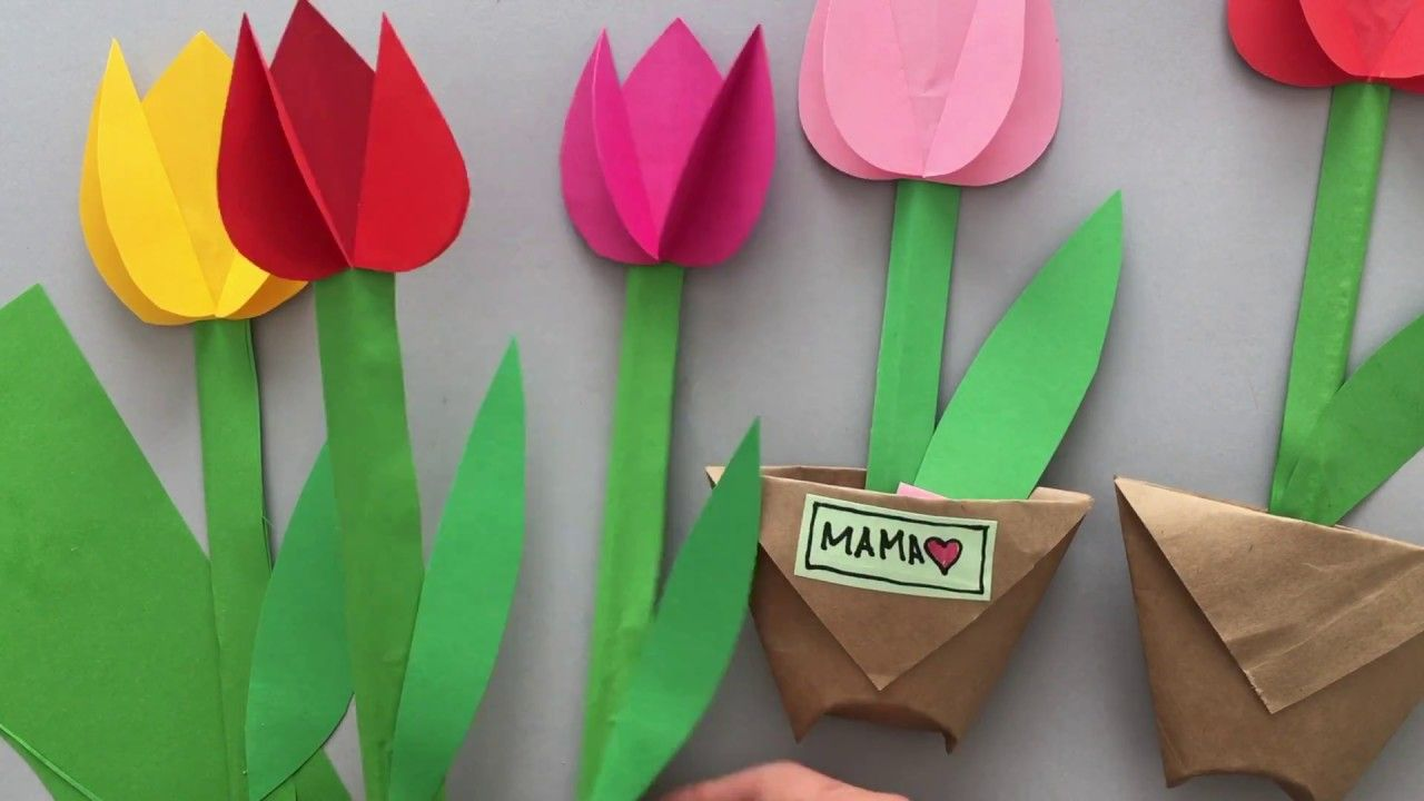 Paper Tulips Flower Crafts Crafts Mothers Day Crafts For Kids