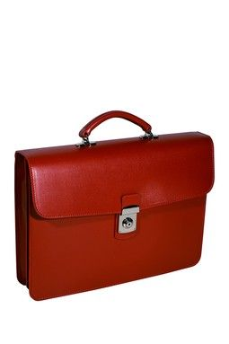 7f4be7bc3 Red Italian Saffiano Leather Single Gusset Briefcase   SOLO PARA ...