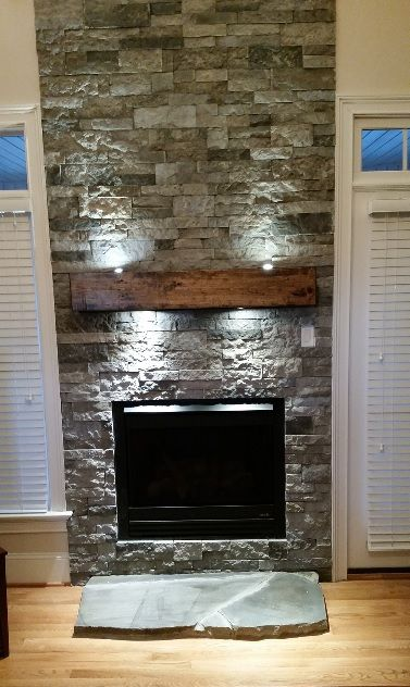 Stacked Stone Fireplace Makeover