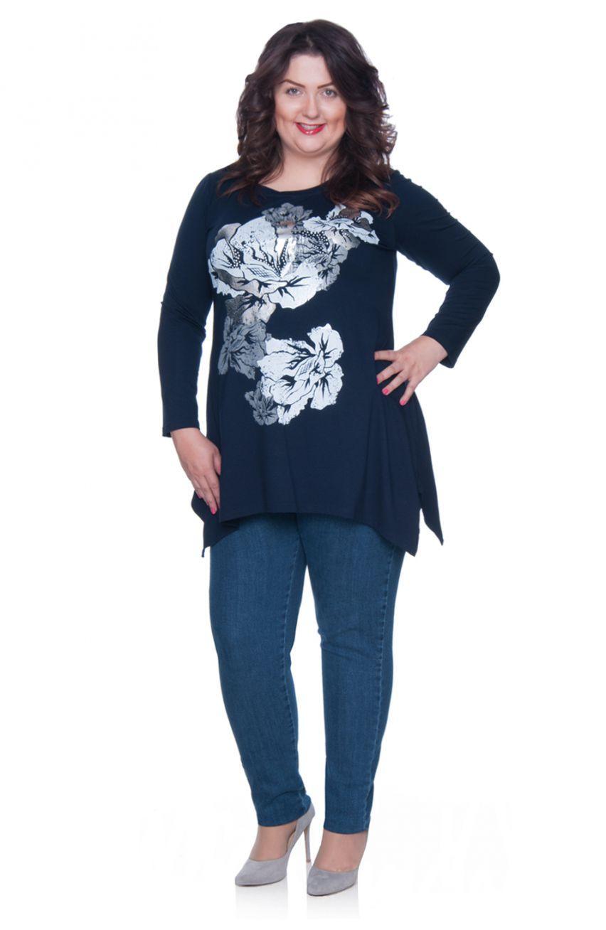 Granatowa Tunika Srebrne Kwiaty Modne Duze Rozmiary Long Sleeve Blouse Fashion Women