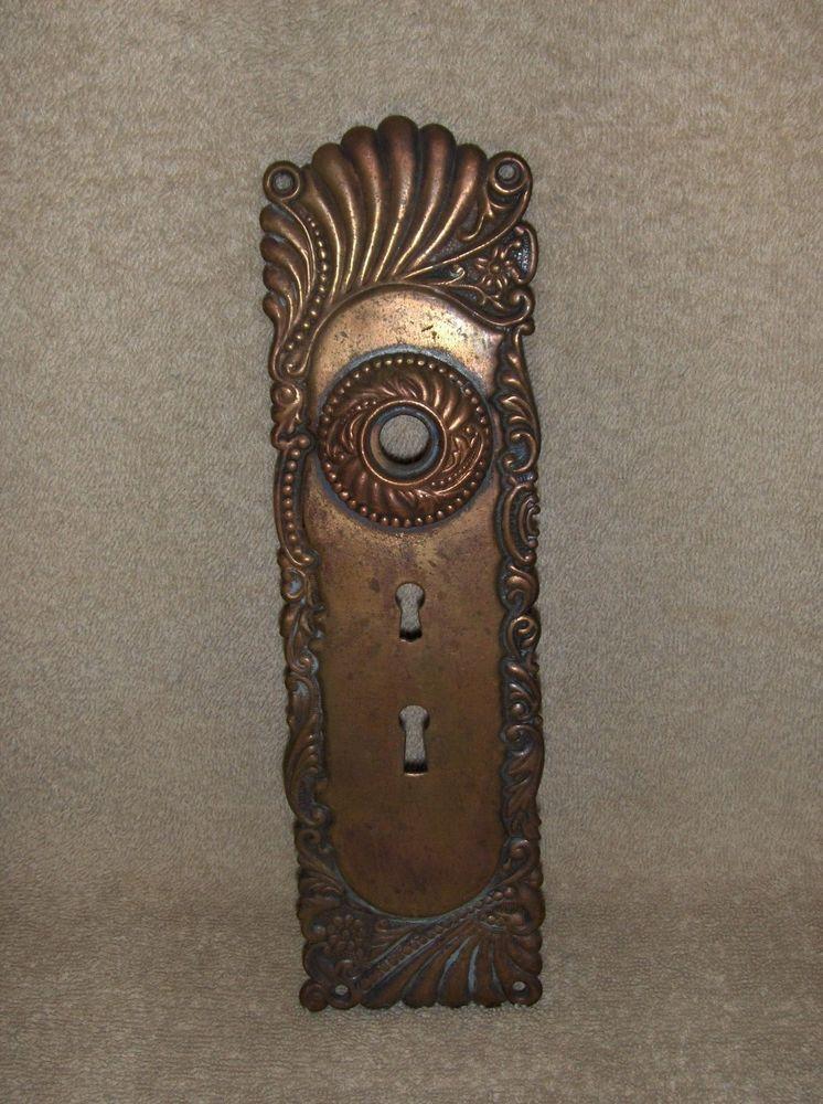 Antique Victorian Brass/Bronze Doorknob Back Plate Escutcheon Double Key