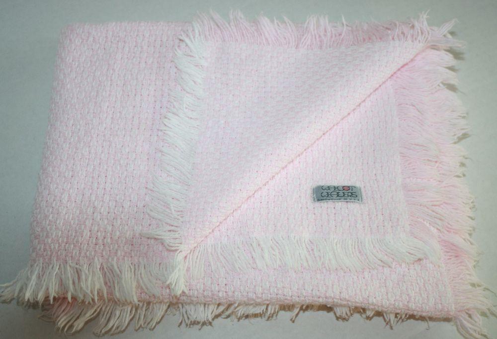 Walcot Weavers Pink White Baby Blanket Cotton Woven Fringe