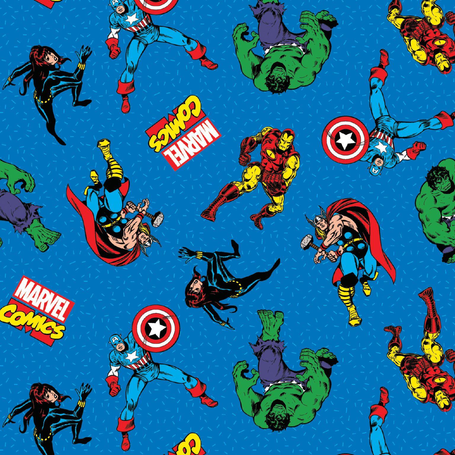 Springs Creative Fabric Marvel Kawaii Character Tiles Multi HALF METRE