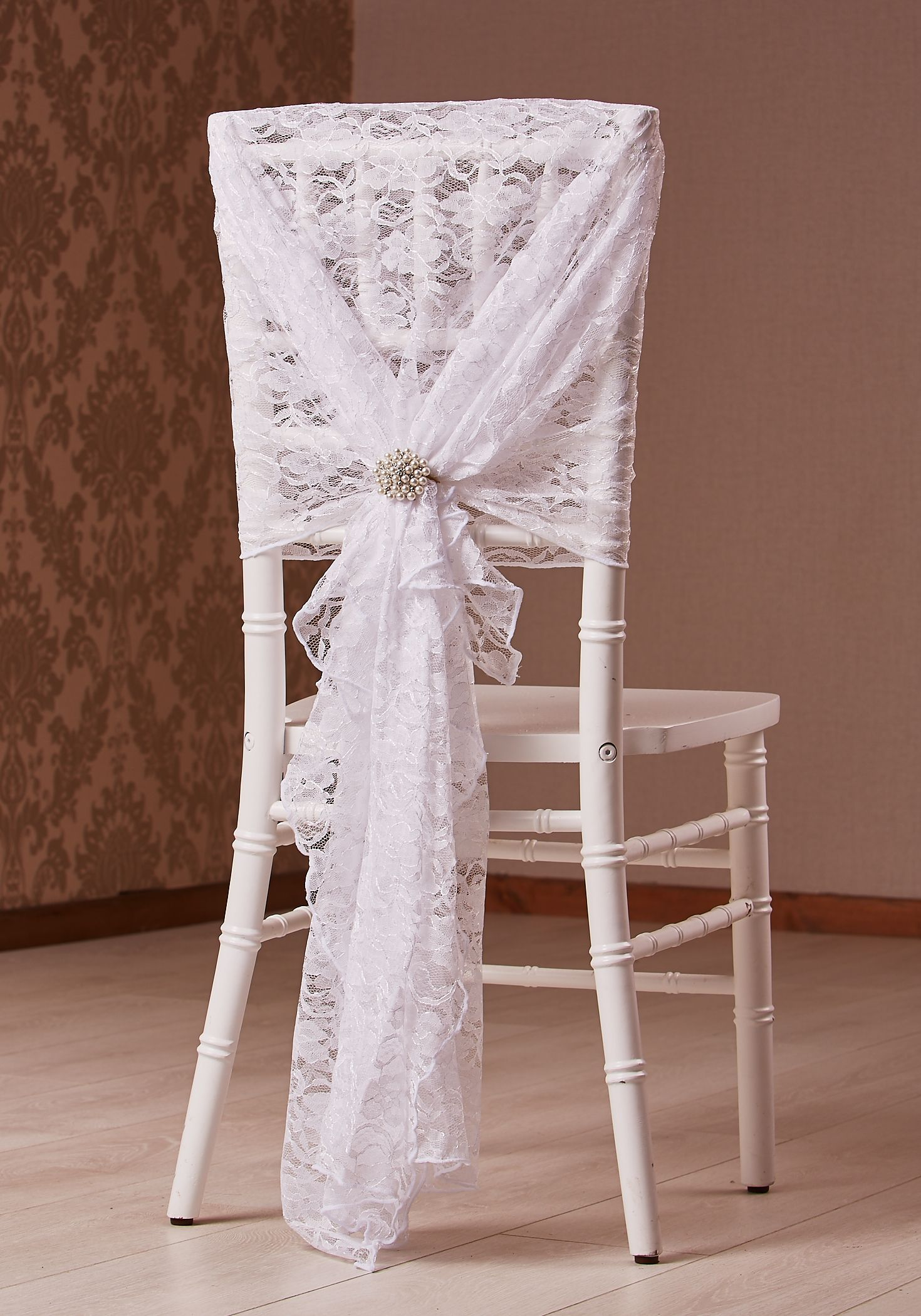 CHIAVARI CHAIR WHITE LACE HOOD WITH BROOCH STYLING BY FLEUR