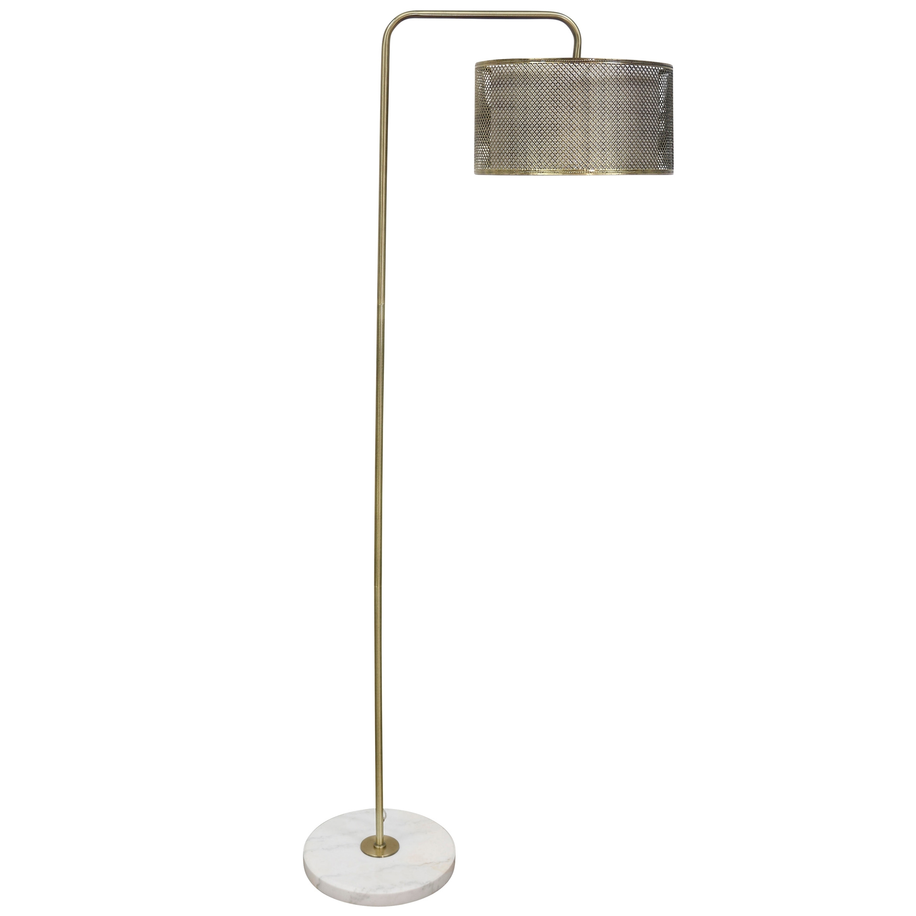 Hastings Brass Extended Arm Floor Lamp With Marble Base Diamond Pattern Mesh Metal With Inner Fabric Shade White Brass Floor Lamp Floor Lamp Cool Floor Lamps