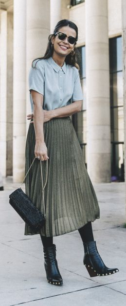 Pleated Skirts with Boots