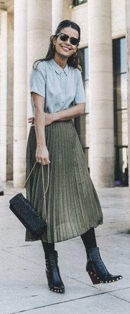 4741a19ab6 Sara Escudero + vintage style + green pleated midi skirt + teal collared  blouse + studded ankle boots Biker Jacket: Sandro, Shirt/Skirt/Bag: Reiss.