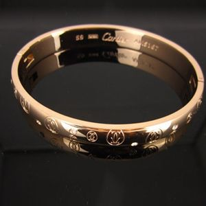 Cartier Rose Gold Double C Motif Bracelet With Diamonds