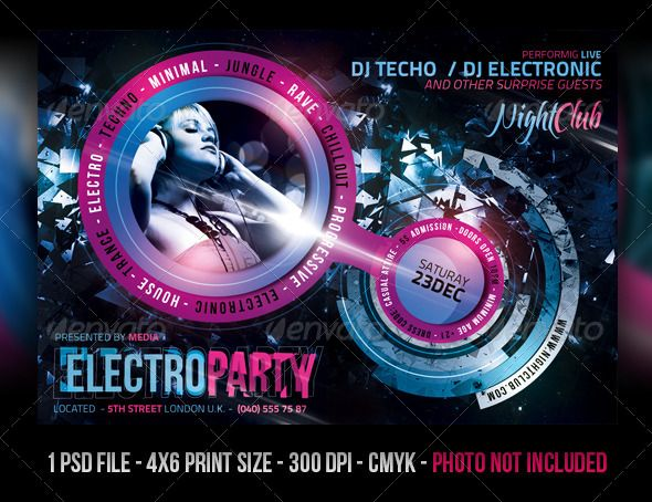 Electro Night Club Party Flyer  Party Flyer Club Parties And