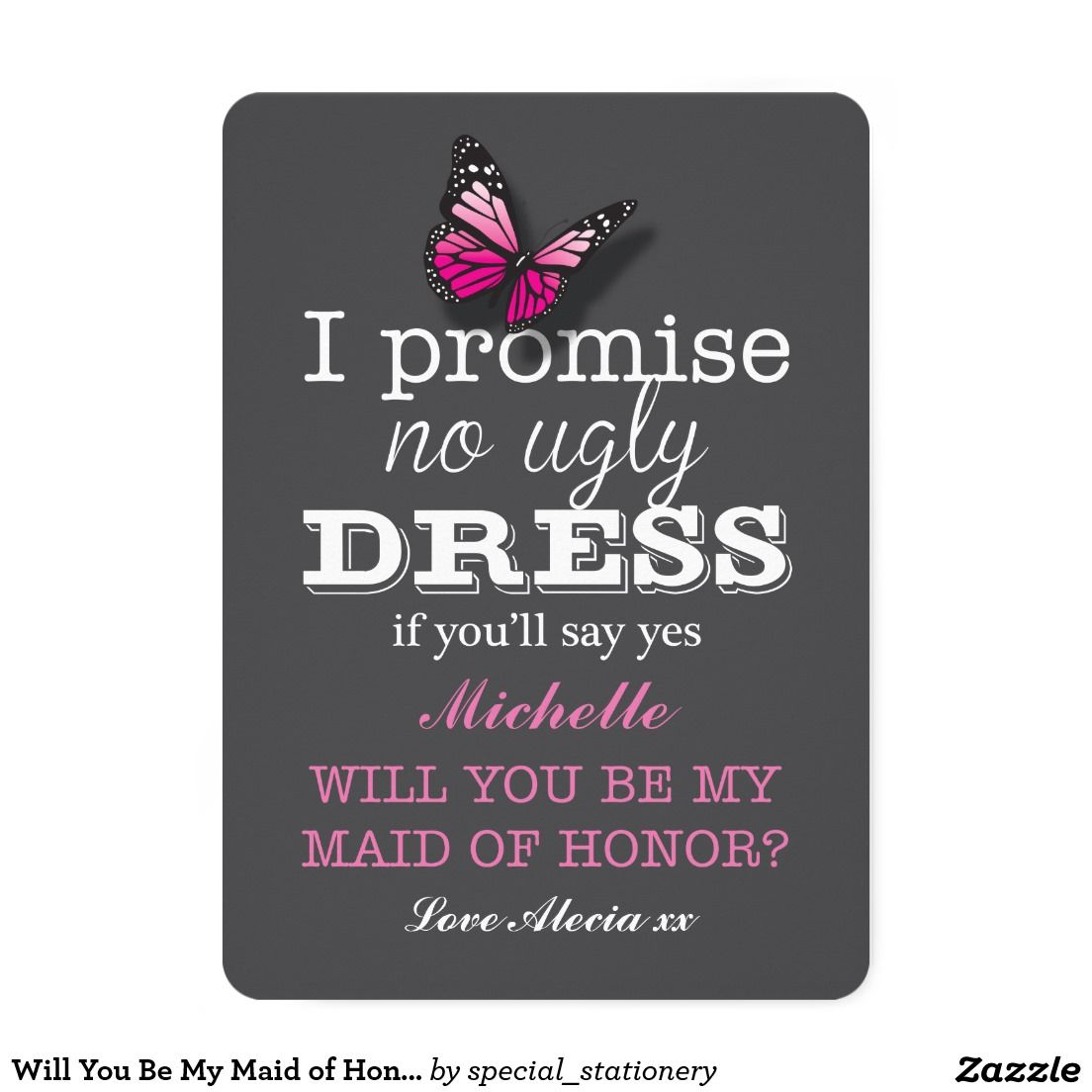 Will You Be My Maid of Honour Pink Butterfly Card   Maids and ...