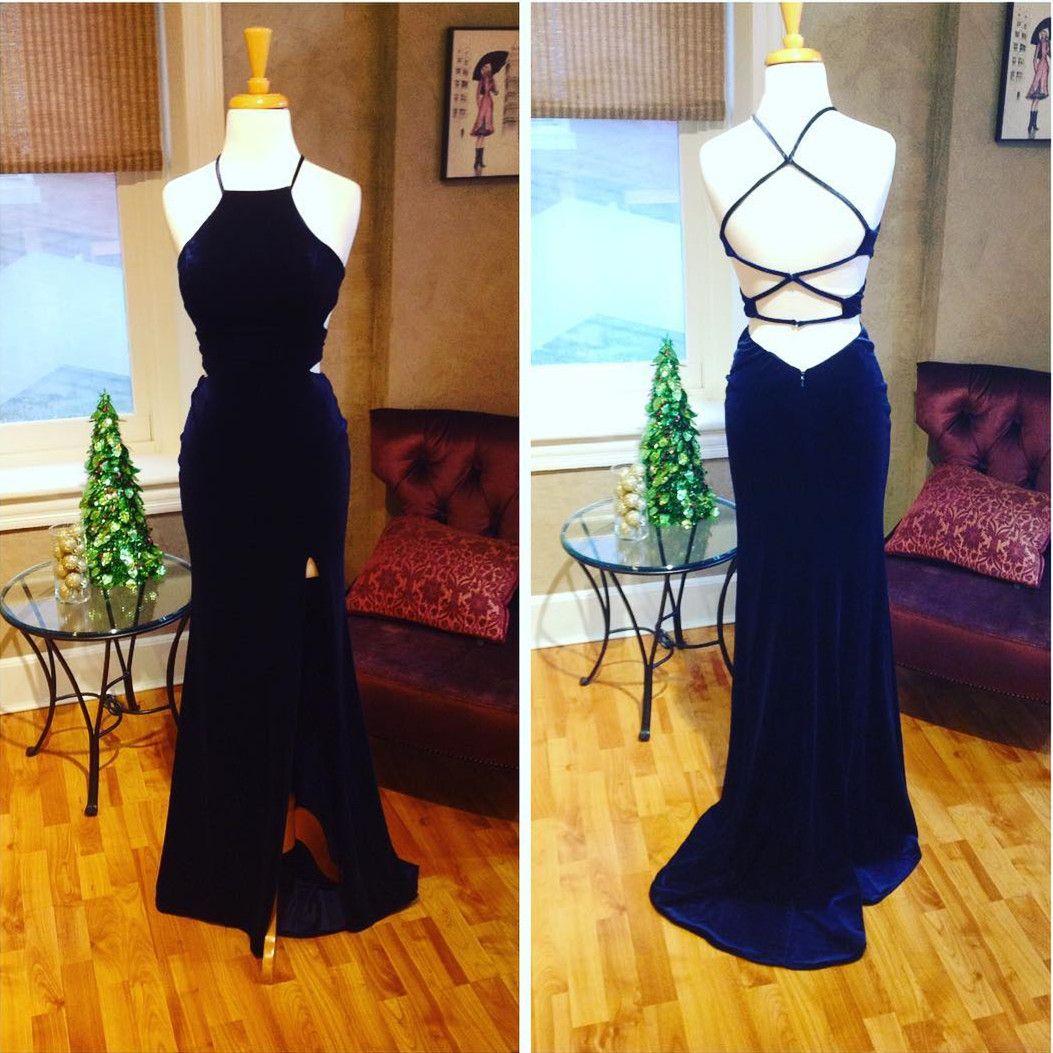 Navy blue prom dressmermaid evening gownsvelvet prom dresscross