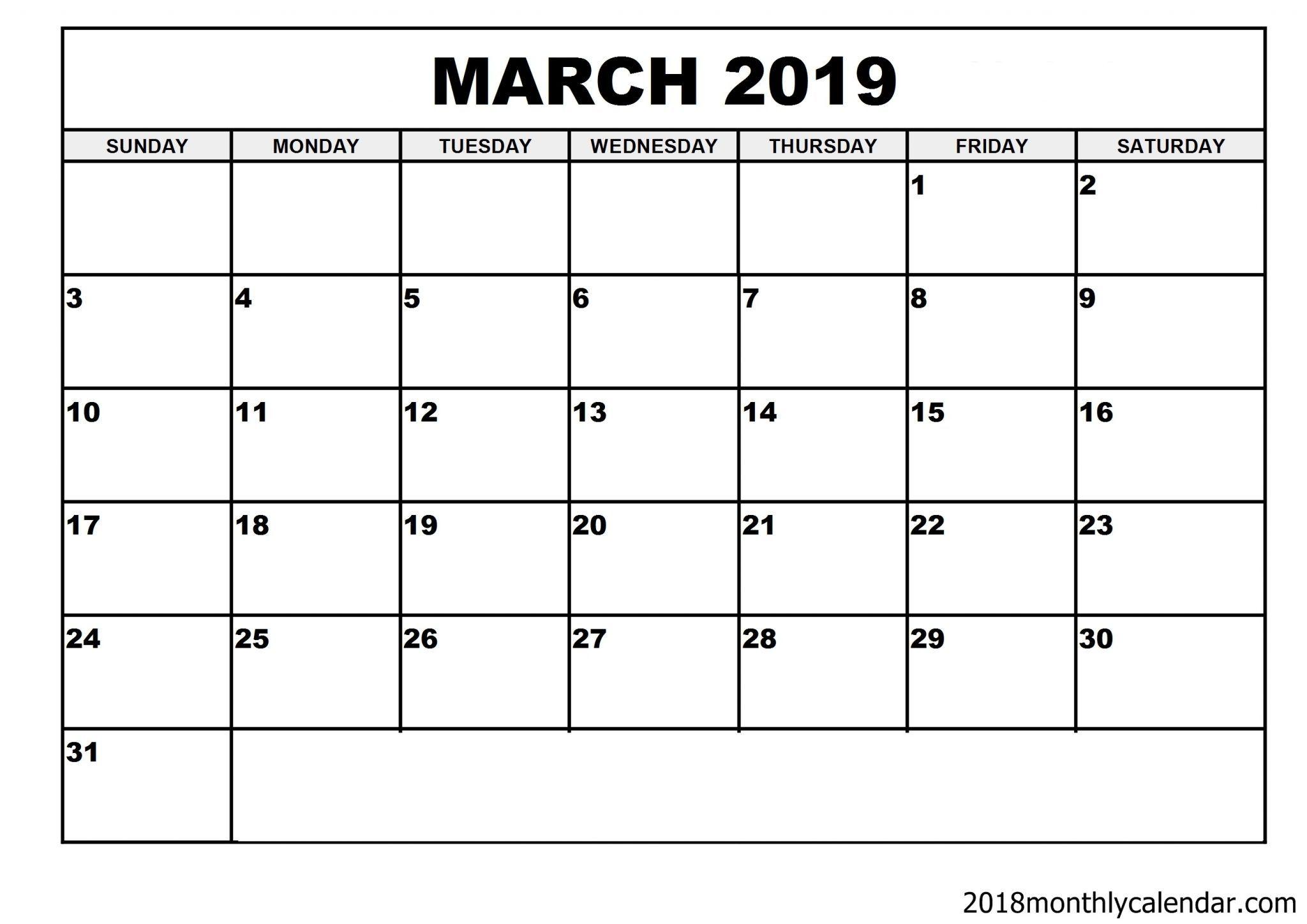 march 2019 calendar 27 9 x 21 6