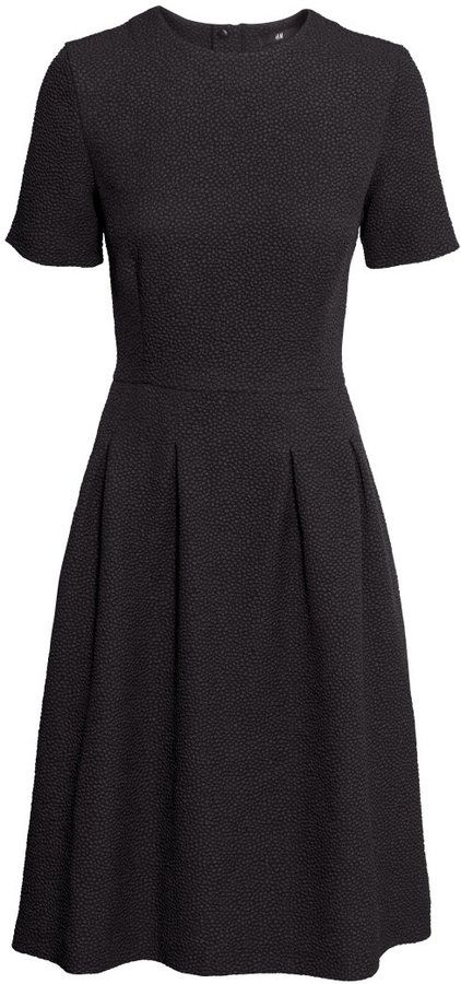 6090258f H&M - Textured Dress - Black - Ladies | Beautiful Fashion | Dresses ...