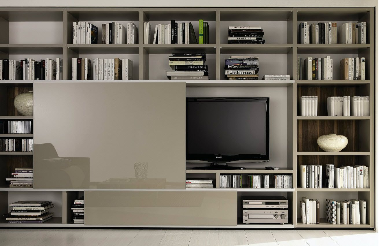 Biblioteca tv home interiors pinterest muebles for Muebles bibliotecas para living