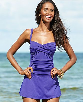 6f34cb9927 La Blanca Twist-Front Ruched Swimdress - Swimwear - Women - Macy's ...