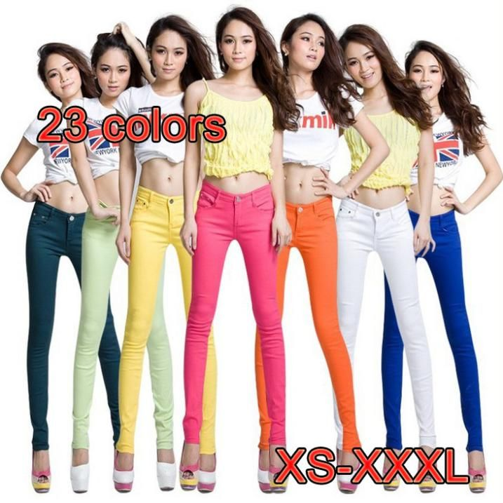 2014 new Women's casual Candy Neon color trousers tight leggings ...
