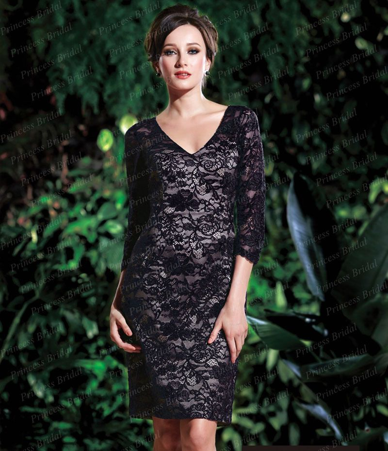 Click to Buy    Free Shipping Exotic Custom Made Short Sheath V Neck Knee  Length Lace Mother Of The Bride Dress With 3 4 Sleeves MD046  Affiliate 77df61106205