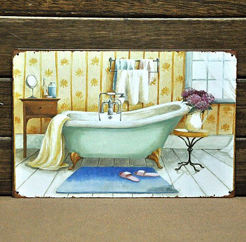 [ Mike86 ] Vintage Bathtub Metal Signs Wall Decorative House Office Bar  Metal Bathroom Painting Art
